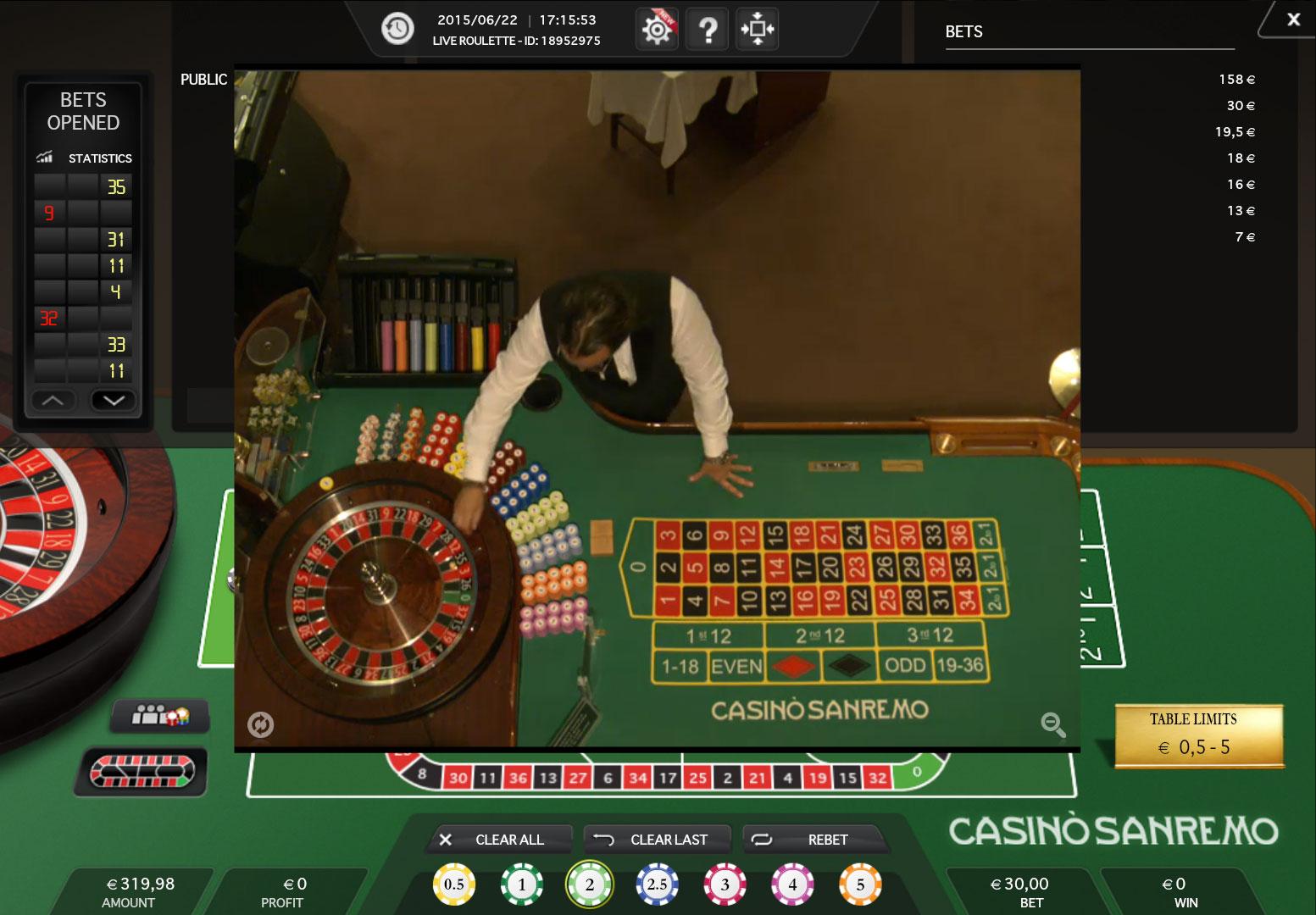Casino sanremo puntata minima roulette